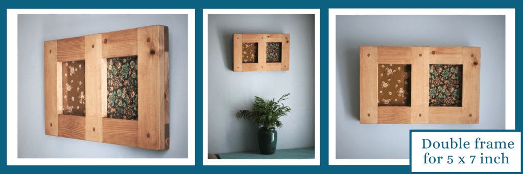 Our double frame for 5 x 7 inch images has been handmade in Somerset by us at Marc wood Joinery UK in the modern rustic style from natural wood