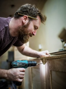 Marc Wood is a designer maker of picture frames, furniture and mirrors. Seen here in our Somerset joinery workshop using hand tools
