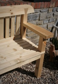 Our stylish slatted rustic garden bench can be custom made to any seat height or width in reclaimed wood and natural sustainable timbers.