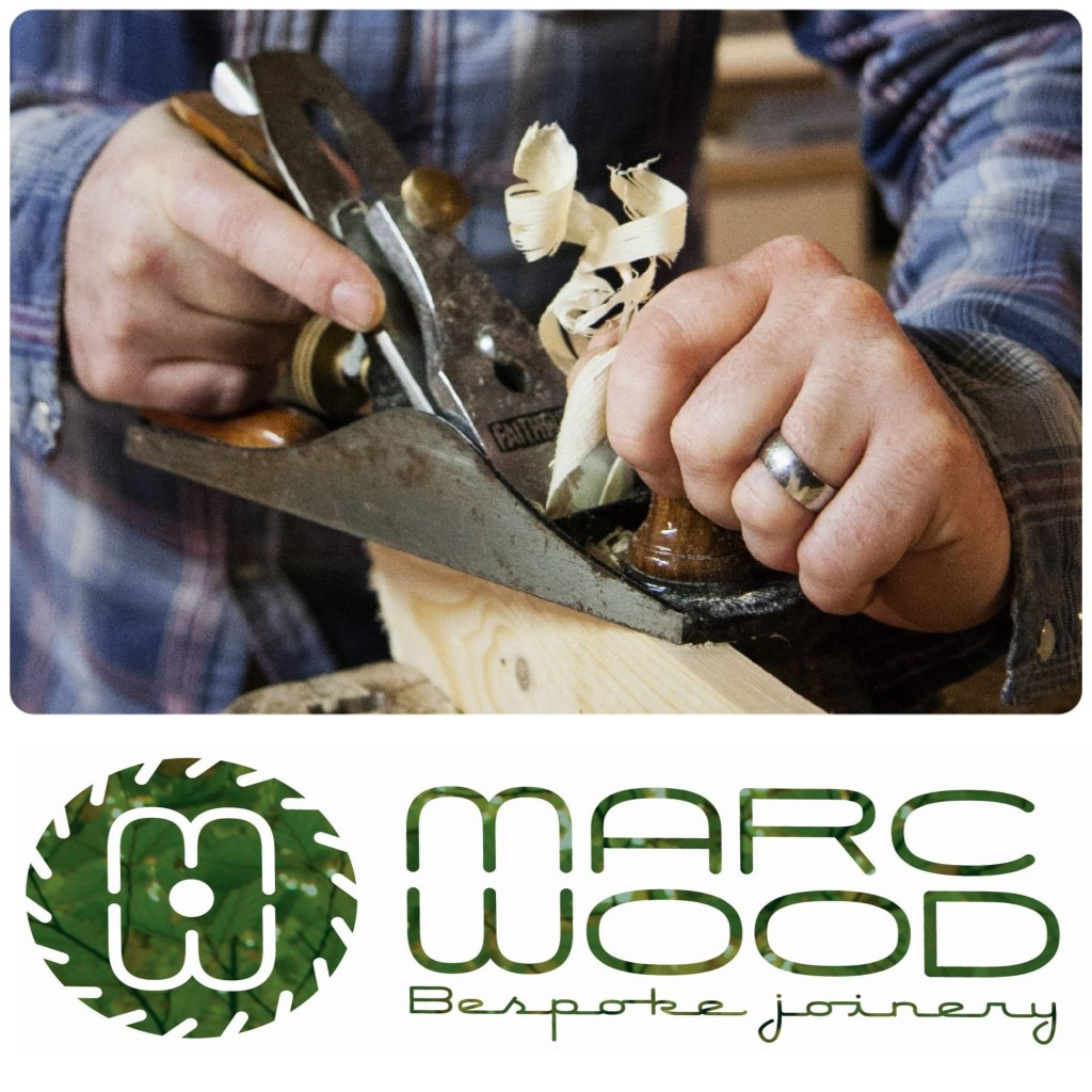 Marc Wood bespoke Joinery logo with planer