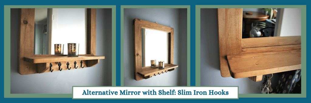 Square mirror with shelf and slim iron hooks in the modern rustic, farmhouse style. Custom handmade from natural solid wood by Marc Wood Joinery in Somerset UK.