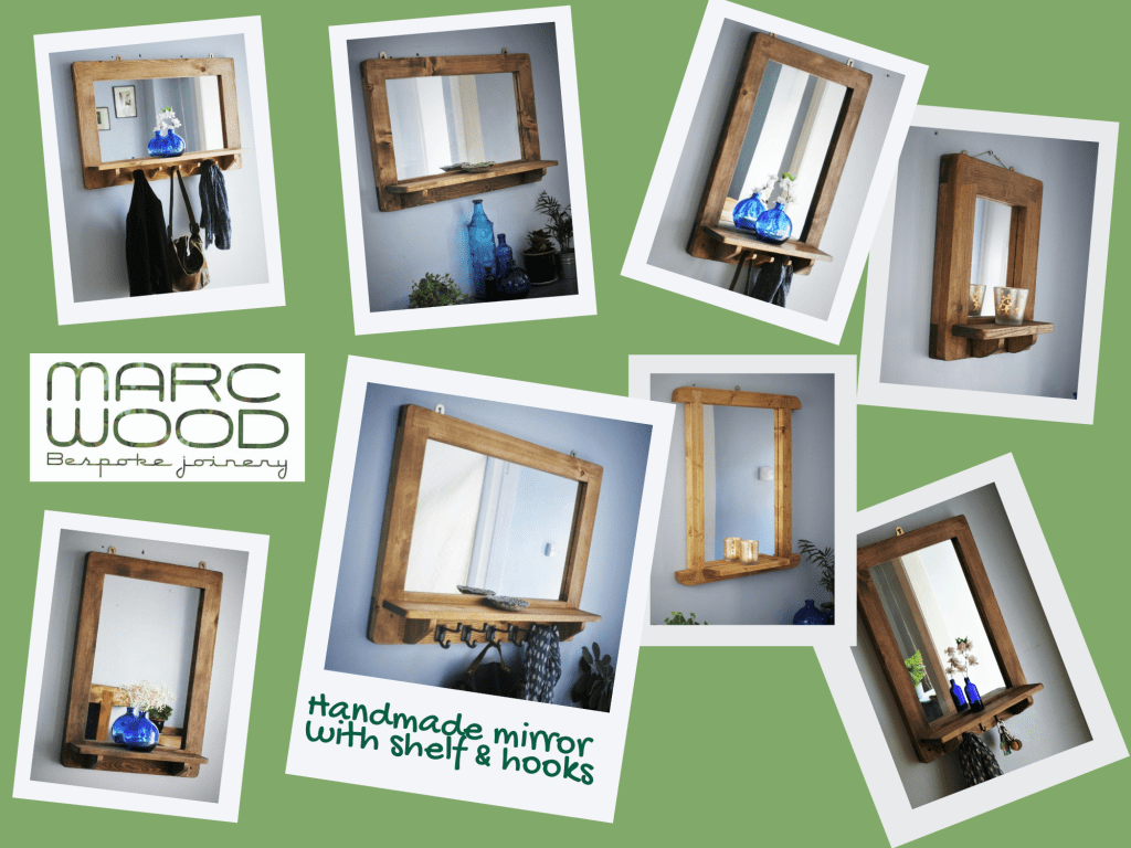 Mirror designs include our very popular handmade mirror with shelf, mirror with shelf and cast iron hooks and mirror with shelf and upcycled coat hanger hooks. Each handcrafted from sustainable natural wood by Marc Wood Joinery, Ilminster Somerset UK.