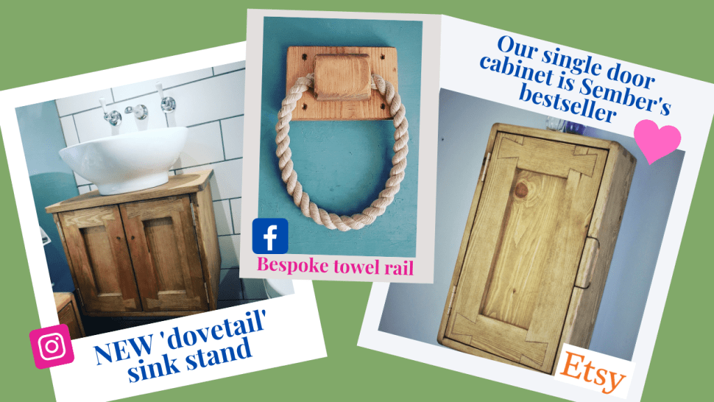 At Marc Wood Joinery we were commissioned to create a bespoke version of our classic 'dovetail' wooden cabinet to hold a ceramic sink. In early autumn our bestseller in our online shop was our slim wooden bathroom cabinet and we made a nautical rope and wood towel rail in our Somerset workshop.