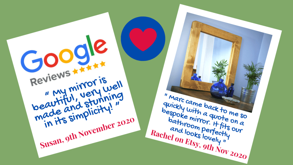 "Our lovely new customer Susan gave us 5 stars on the 9th November and left a review of the extra wide frame wooden mirror which we recently made for her. "" My mirror is beautiful, very well made and stunning in its simplicity! """