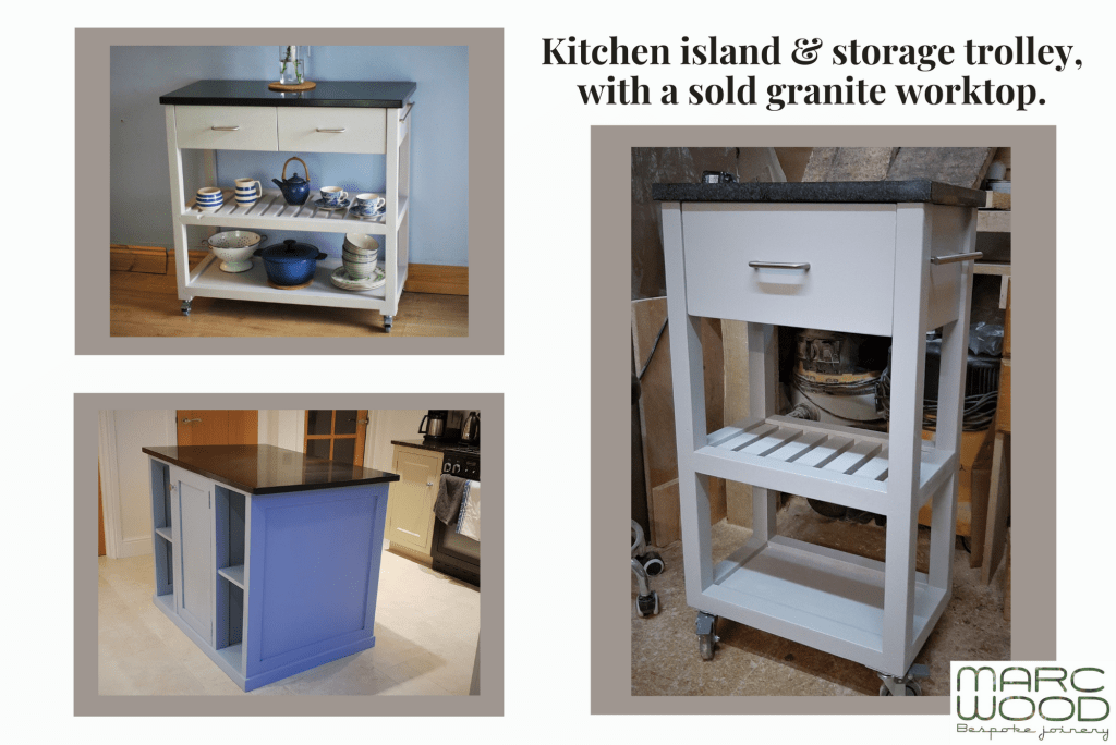 Handmade bespoke wooden kitchen island trolley with solid granite worktop from Marc Wood Joinery in Somerset UK
