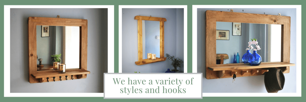 Mirror with shelf and hooks in natural wood. Our modern rustic furniture is custom handmade to order by Marc Wood Joinery in Somerset UK, buy from our online shop.