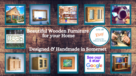 Modern rustic bathroom and kitchen cabinets, mirrors, picture frames and shoe racks are custom handmade by Marc Wood Joinery in Somerset UK from natural wood, buy from our online shop.