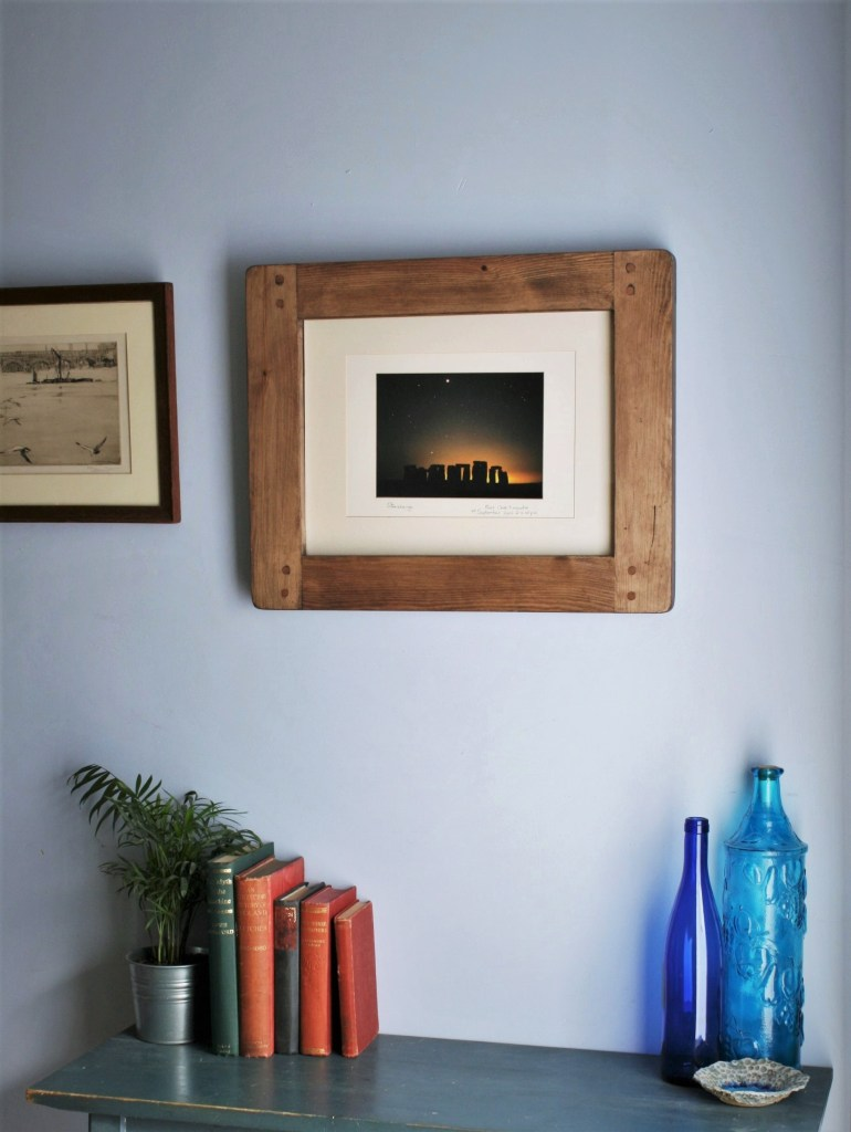 Chunky large wooden photo and picture frame, A3 or 12 x 16 inch, industrial, farmhouse style, custom handmade from rustic dark natural wood in Somerset