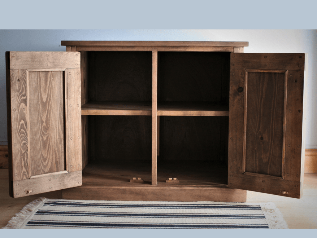 Wooden aquarium cabinet fish tank stand with strong storage shelf and extra bracing to take the weight of a full tank, custom handmade in Somerset farmhouse UK, near Exeter, Bristol, Salisbury, Bournemouth.