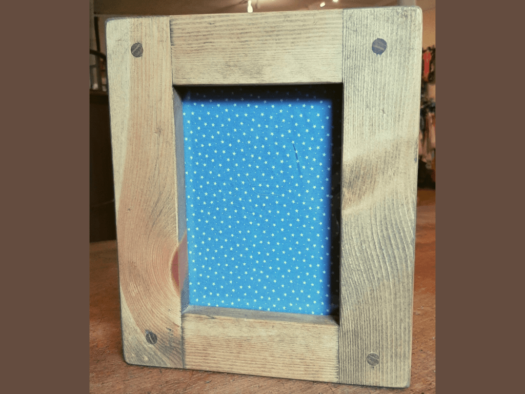 Chunky wooden photo and picture frame for 5 x 7, A5 size, handmade from rustic light natural wood in Somerset UK