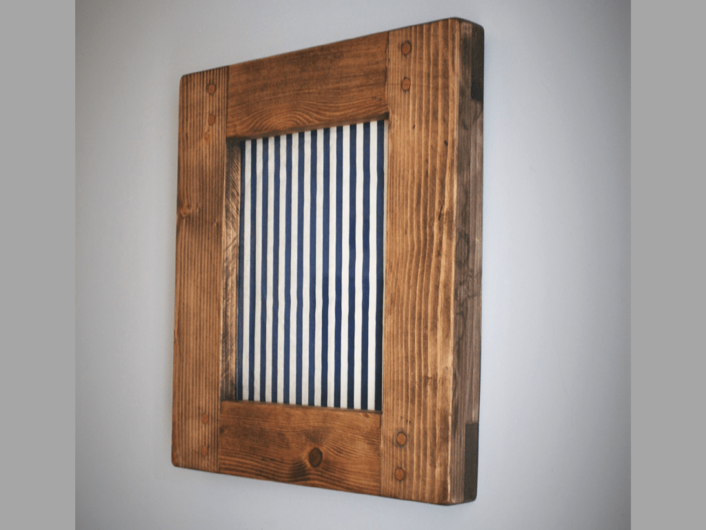 Chunky wooden photo and picture frame for A4, 8 x 10 size, handmade using rustic dark natural wood in Somerset UK