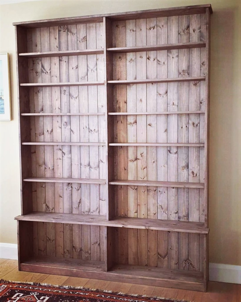 Large wooden double bookcase with solid back panel, custom handmade in Somerset UK near Bristol, Exeter and Taunton.