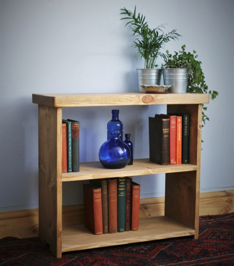 Low wooden bookcase with chunky table top, rustic custom handmade in Somerset UK near Bristol, Exeter and Taunton.