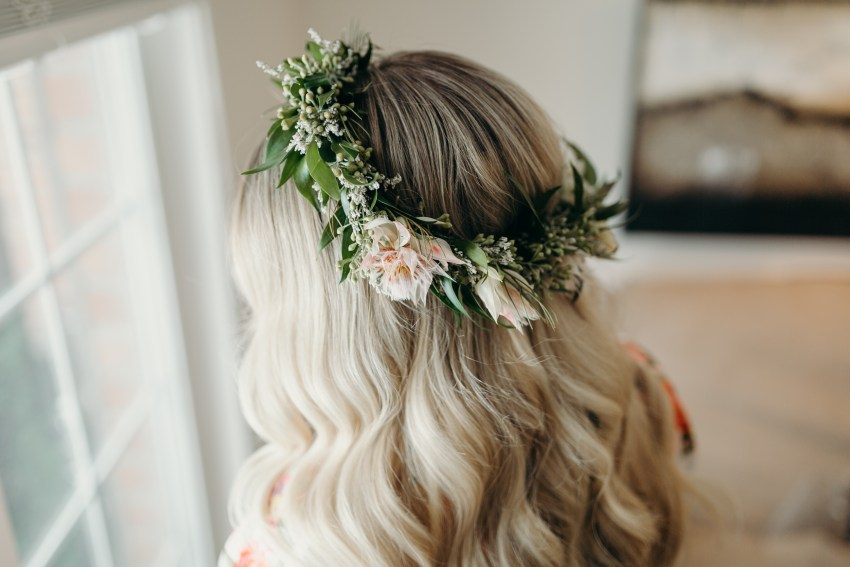 flower crown on bride from florist Grow and Bloom in London, Ontario.