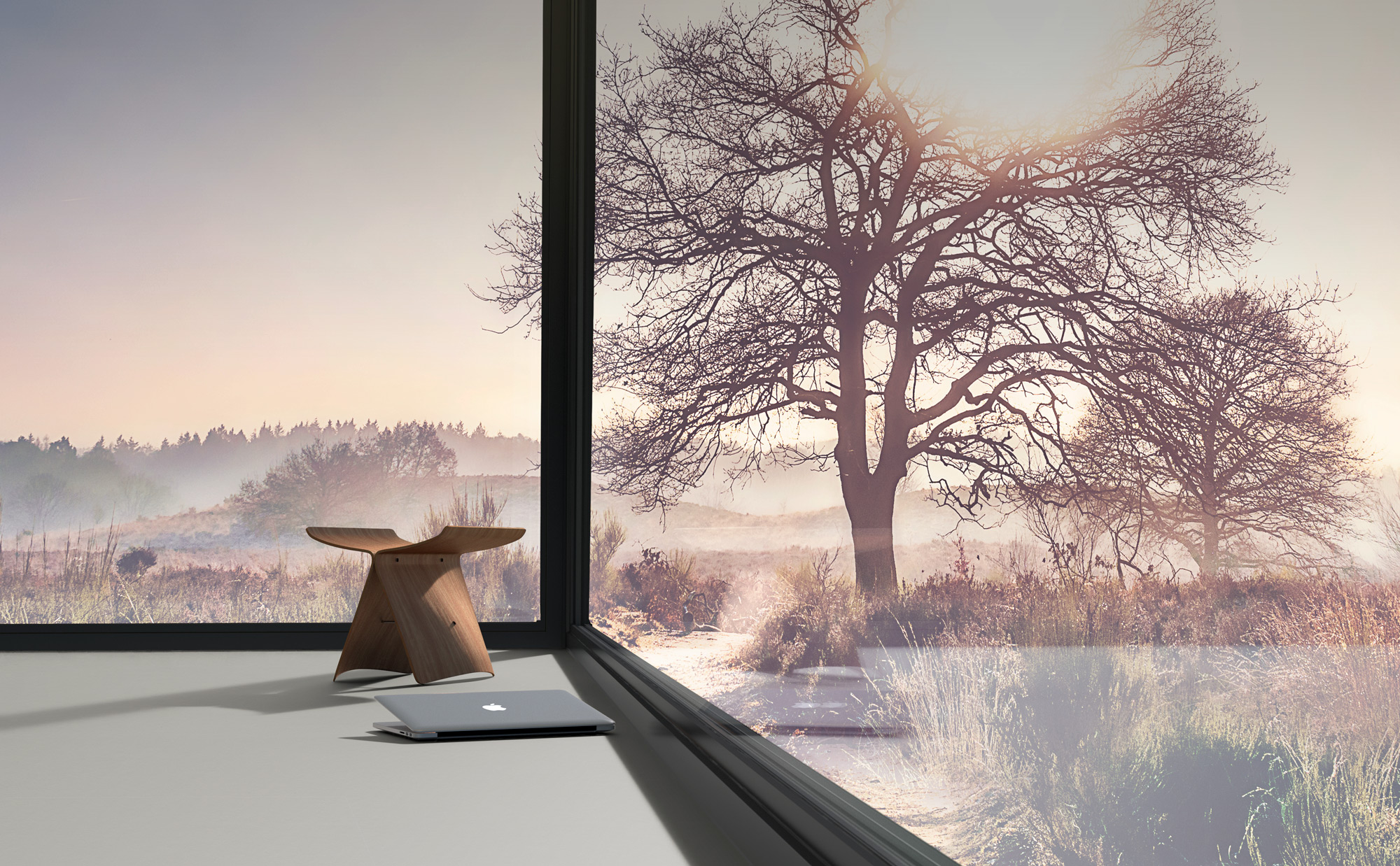 Vitra stool in virtual room created in CGI for Forbo flooring