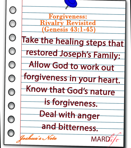Forgiveness: Rivalry Revisited (Genesis 43:1-45) – JOSHUA'S NOTE
