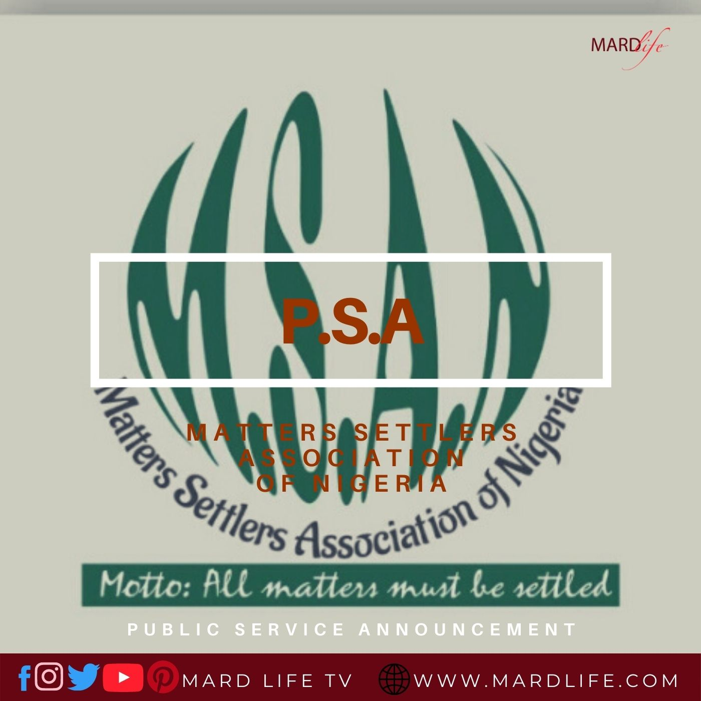 Matters Settlers Association Of Nigeria, Public Service Announcement, Settle, Confusion, Fight, Disagreement, Arbiter, Peace Maker, Matter, Lawyer,