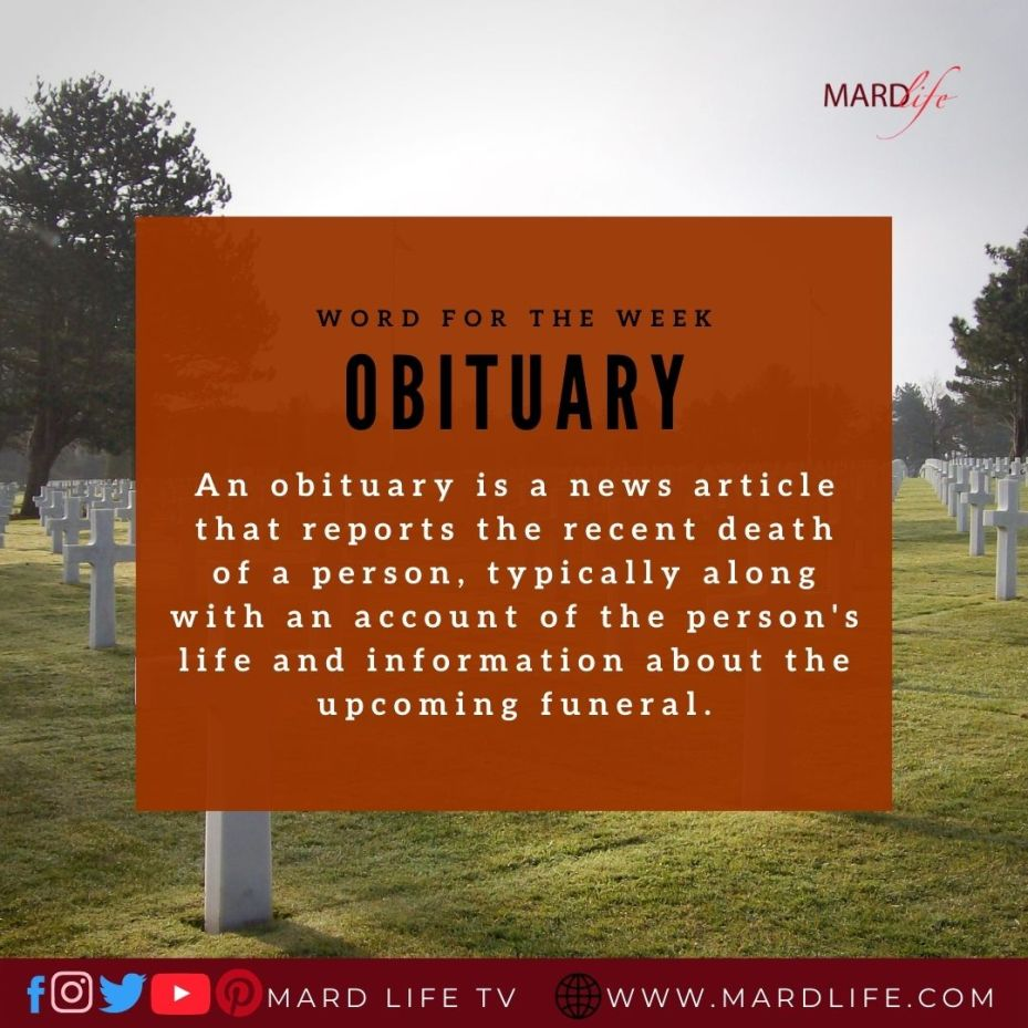 Obituary (Word For The Week)