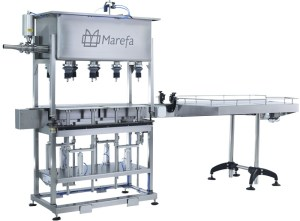 Marefa Semi-Automatic Step Filler. 8 Head Step Filler, Packaging Equipment. Packaging Line