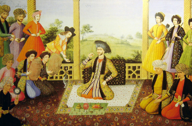 Shah Suleiman I and his courtiers, Isfahan, 1670. Painter is Ali Qoli Jabbador, and is kept at The St. Petersburg Institute of Oriental Studies in Russia, ever since it was acquired by Tsar Nicholas II. Note the two Georgian figures with their names at the top left.