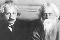 الشاعر الهندي الحاصل على جائزة نوبل في الأدب رابندرانات طاغور وأينشتاين أثناء حوارهم ذائع الصيت في 14 يوليو, 1930