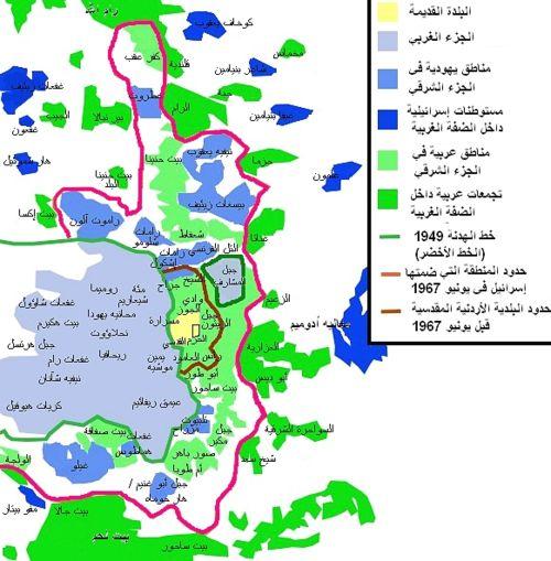 خريطة تعرض حارات مدينة القدس وتقسيمها السياسي