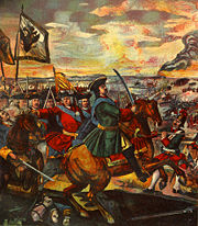 Peter the Great leading the Russian army in the Battle of Poltava