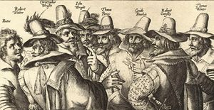 A monochrome sketch of eight men, in 17th-century dress.  All have beards, and all appear to be engaged in discussion
