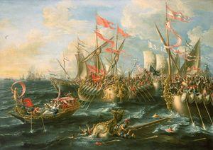 معركة أكتيوم, بريشة Lorenzo A. Castro, رسمها في 1672.
