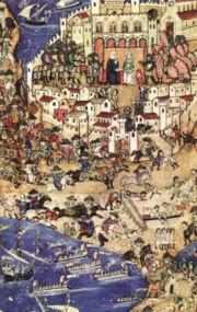 تحرير طرابلس عام 1289: السفن المملوكية تهاجم القلعة الصليبية.