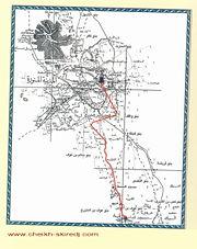 مخطط تقريبي لمسار انتقال الرسول صلى الله عليه وسلم من قباء إلى المدينة المنورة عند وصوله لها مهاجرا من مكة