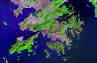 مجالات التنمية الحضريه والغطاء النباتي واضحة في هذا اللون - كاذبة الصورة الفضاءيه.