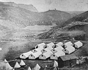 Photograph of the British army camp at Balaklava during the Crimean War. Albumen silver print by