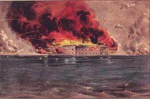 فورت سمتر في ميناء تشارلستون، كانت موقعًا لأول معركة في الحرب الأهلية. حيث هاجمت القوات الفيدرالية تحت قيادة الجنرال بيير ج.ت. بيوريجارد معسكرًا لجيش الولايات المتحدة في 12 أبريل 1861م واستسلم المدافعون عن الاتحاد للمتمردين في 14 أبريل.