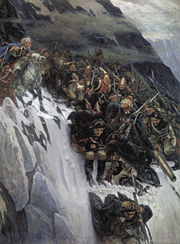 Russian troops under Generalissimo Suvorov crossing the Alps in 1799