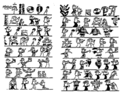1510 pictograph telling a story of missionaries arriving in Hispaniola