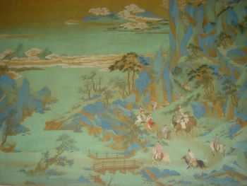 رحلة لجوء الامبراطور شوانزونگ إلى سيشوان, رسم من عصر أسرة مينگ بعد تشيو يـِنگ Qiu Ying (و.1494-1552).