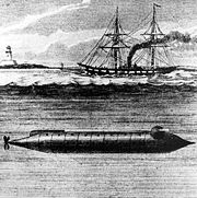 The 1862 Alligator, first submarine of the US Navy, was developed in conjunction with the French