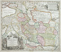 Map of Persia, c. 1700 by Johann Baptist Homann (1644–1724)