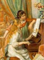 البنات على الپيانو, 1892, by Pierre-Auguste Renoir,  Musée d'Orsay, Paris.