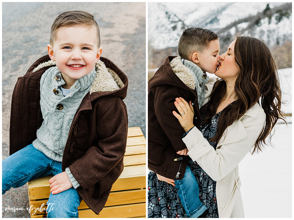 Family pictures of a family of four at Big Springs Park in Provo Canyon in the snow shot by Maren Elizabeth Photography in March. | Arizona Family Photographer