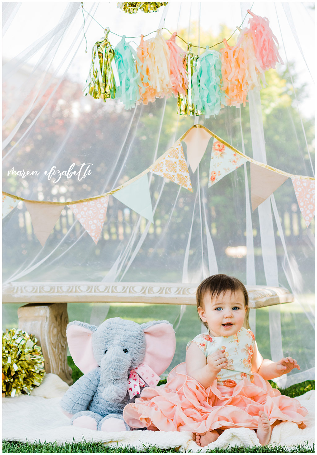 DIY Little Girl Cake Smash | Emi's one year old cake smash had a cute little girl theme. We got the decorations on the facebook marketplace and I made the cake myself. | Arizona Family Photographer | Maren Elizabeth Photography