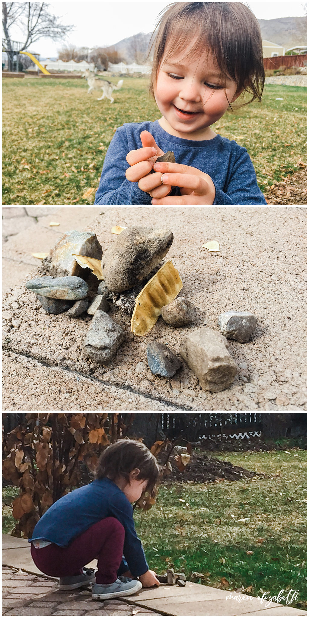 My favorite outdoor activity for toddlers is making nature collections. I'm a firm believer that kids need to be allowed to make messed and play in the dirt and this activity is perfect for encouraging that kind of adventurous play. | Arizona Photographer | Maren Elizabeth Photography