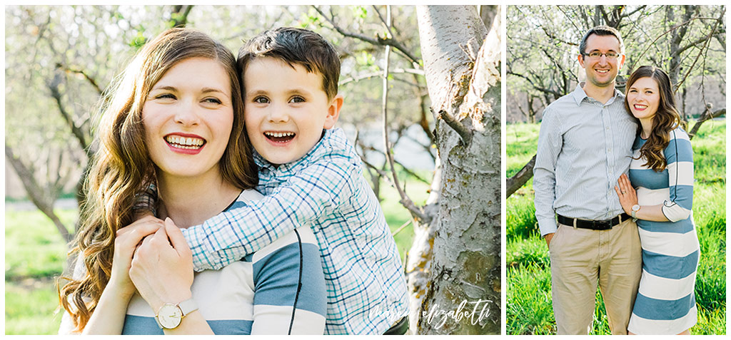 Provo Orchard Family Pictures in the spring. The family chose a neutral blue pallet for their outfits which was perfect for the season! | Gilbert Photographer