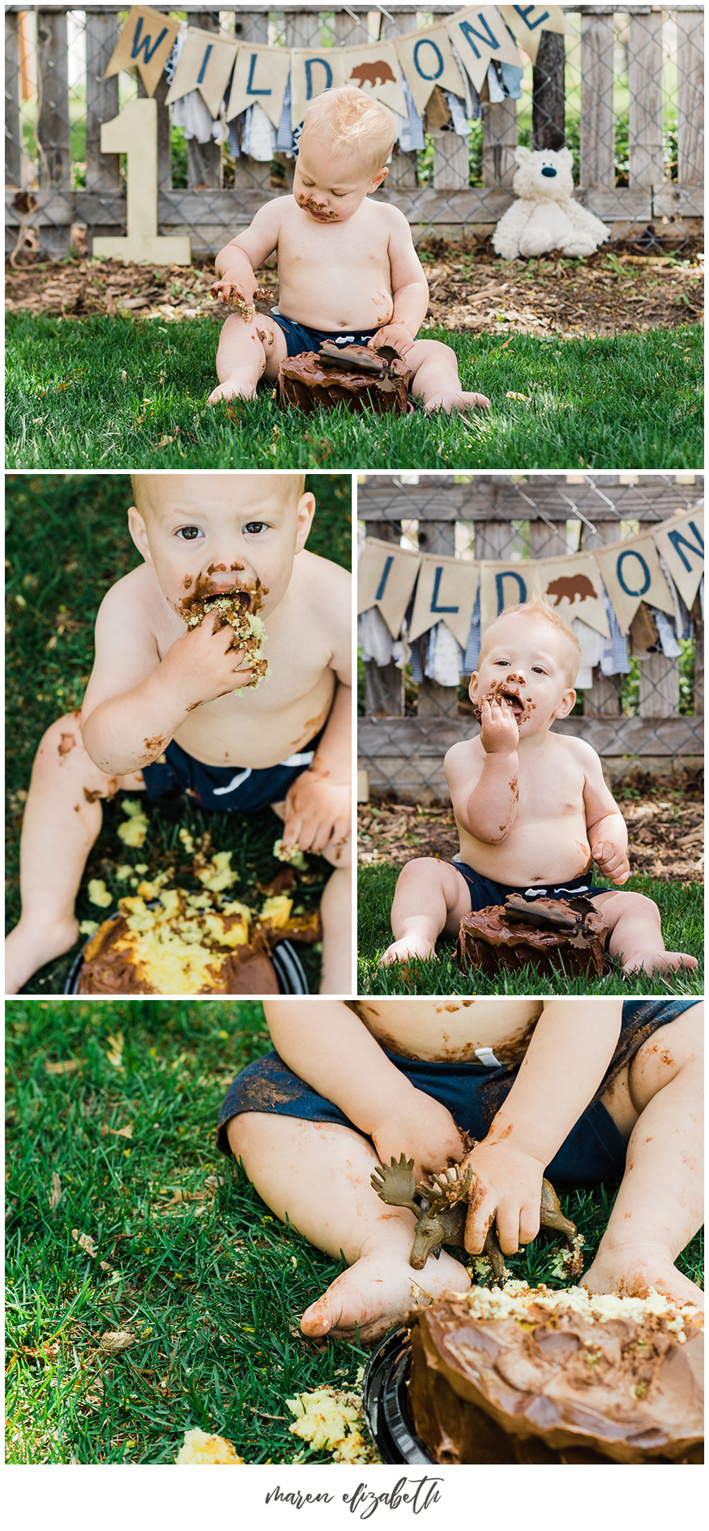 Outdoor, Wild One, little boy cake smash captured by Maren Elizabeth Photography. I love doing cake smashes outside because it makes clean up so easy! | Arizona Family Photographer