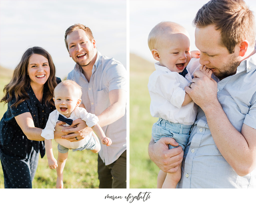 Family of three family pictures at Tunnel Springs Park in North Salt Lake City, UT. Tunnel Springs Photography | Maren Elizabeth Photography
