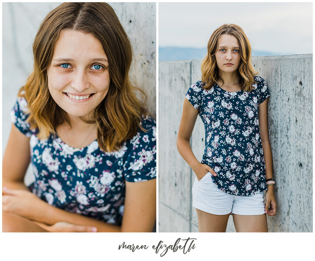 Portraits by Maren Elizabeth Photography taken on the top level of the Utah Valley University parking garage. | Arizona Senior Photographer