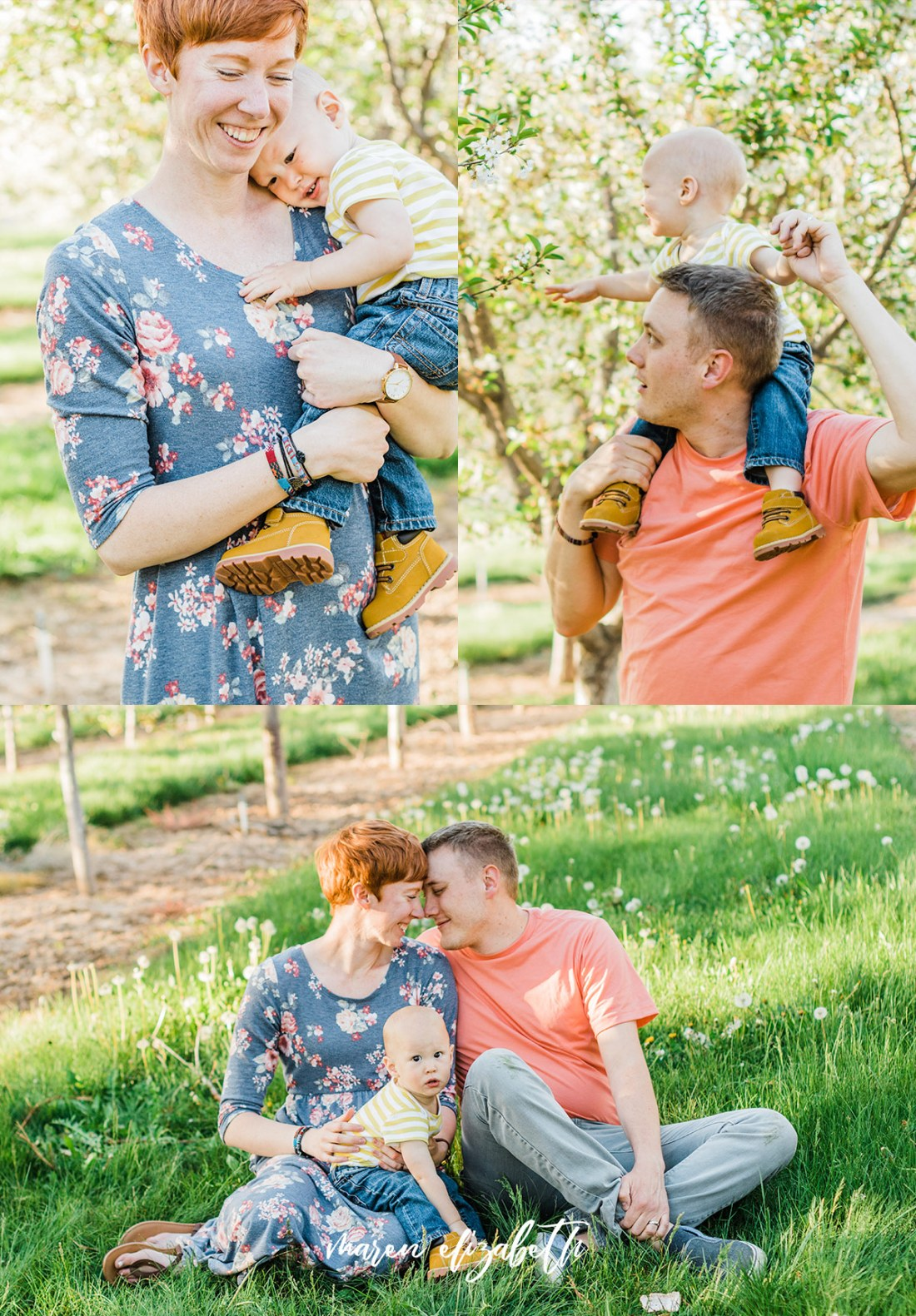Spring family pictures in the blossoms at Rowley's Red Barn in Santaquin, UT | Maren Elizabeth Photography | Arizona Photographer