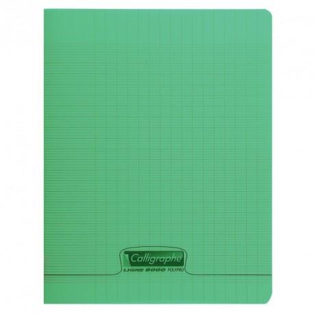 cahier polypro calligraphe grand format 24x32 48p grands carreaux seyes vert