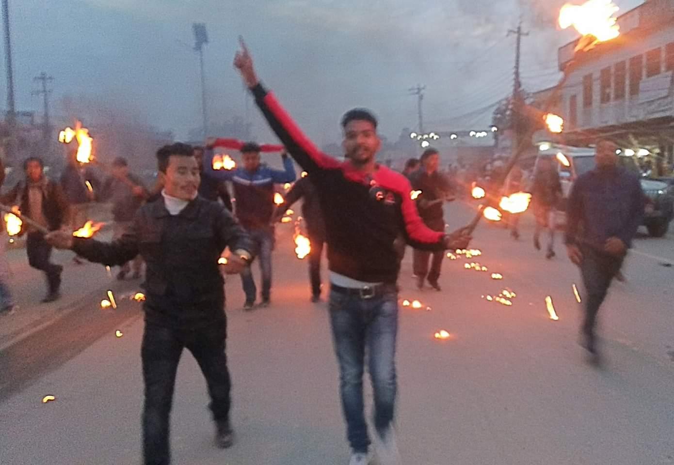 नेपाल विद्यार्थी संघ बाँकेले सरकार विरुद्ध  नेपालगन्जमा मसाल जुलुस